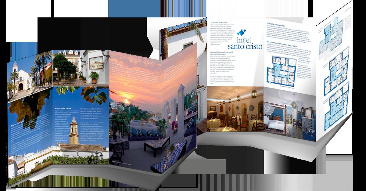 Hotel Santo Cristo brochure, open flaps